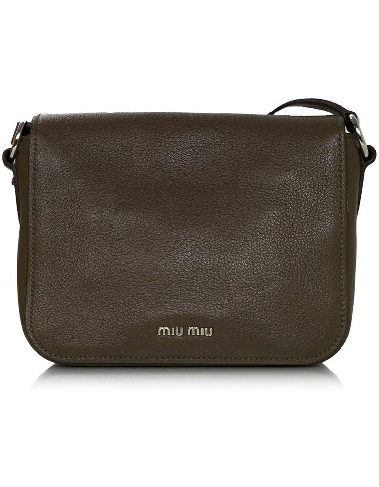 Black Miu Miu Bambu Taupe Leather Madras Crossbody Bag with DB For Sale