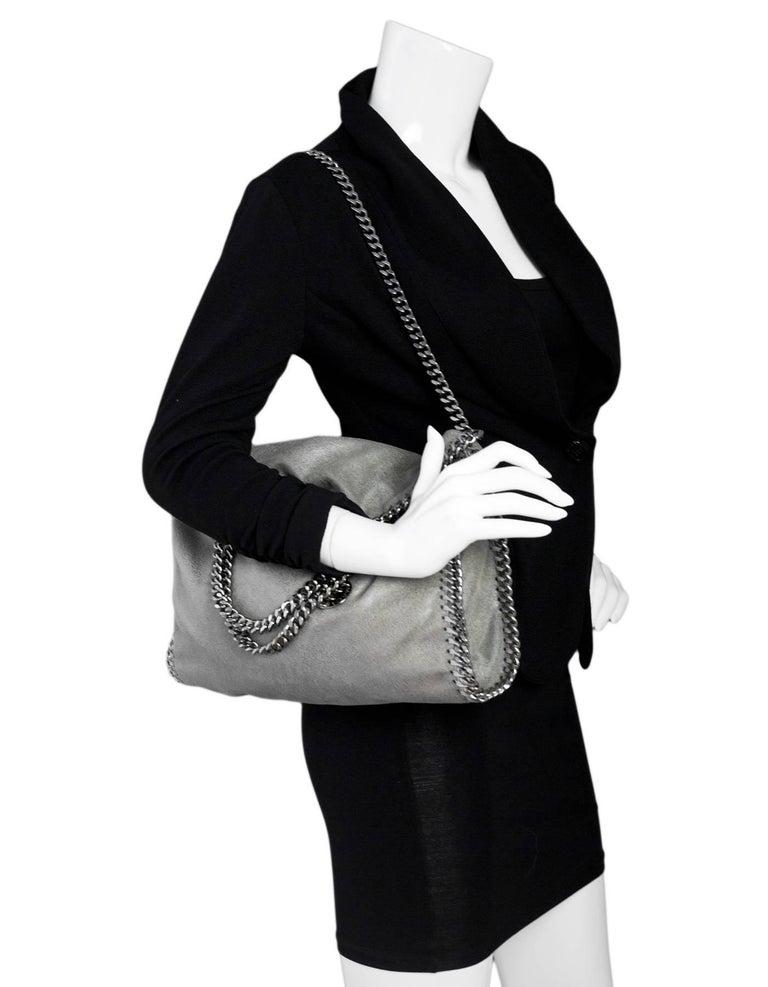 a0ad11724c Stella McCartney Grey Vegan Leather Falabella Chamois Small Tote Bag ...