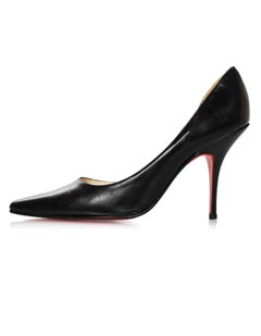 Christian Louboutin Black Leather d'Orsay Pumps Sz 37.5 with Box