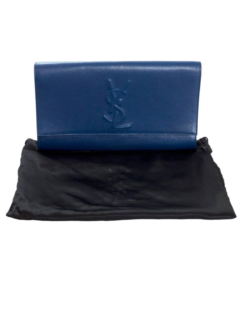 31ce0311106 Yves Saint Laurent Blue Large Belle De Jour Clutch Bag For Sale at ...