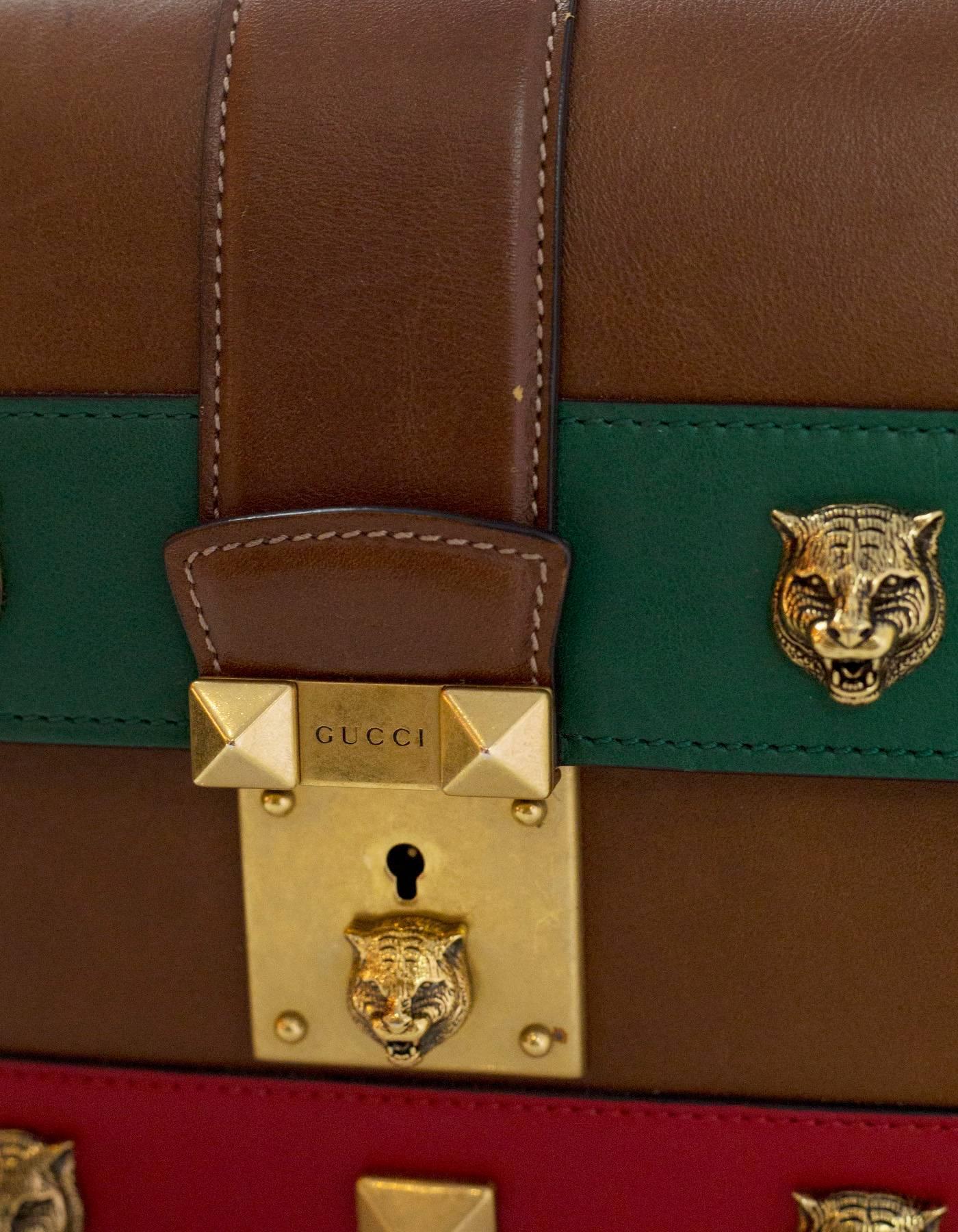 Gucci Brown Red Green Feline Studded Lock Top Handle Bag JRfDLGlXKg