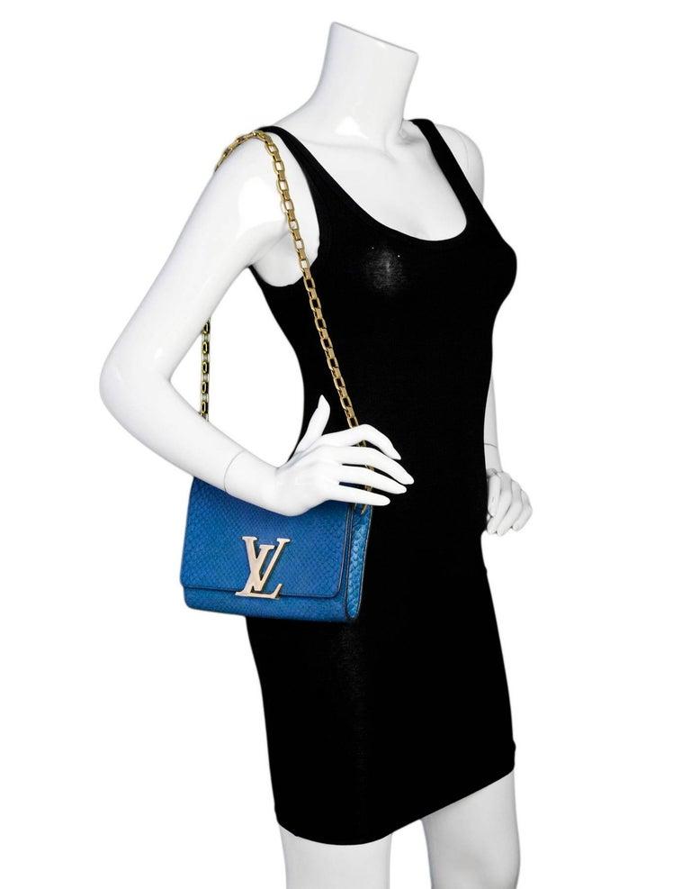 Louis Vuitton Cobalt Blue Python Chain Louise Clutch Shoulder Bag 2
