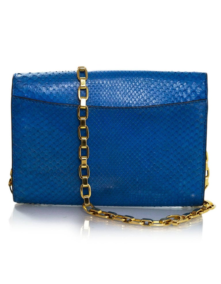 Louis Vuitton Cobalt Blue Python Chain Louise Clutch Shoulder Bag 10