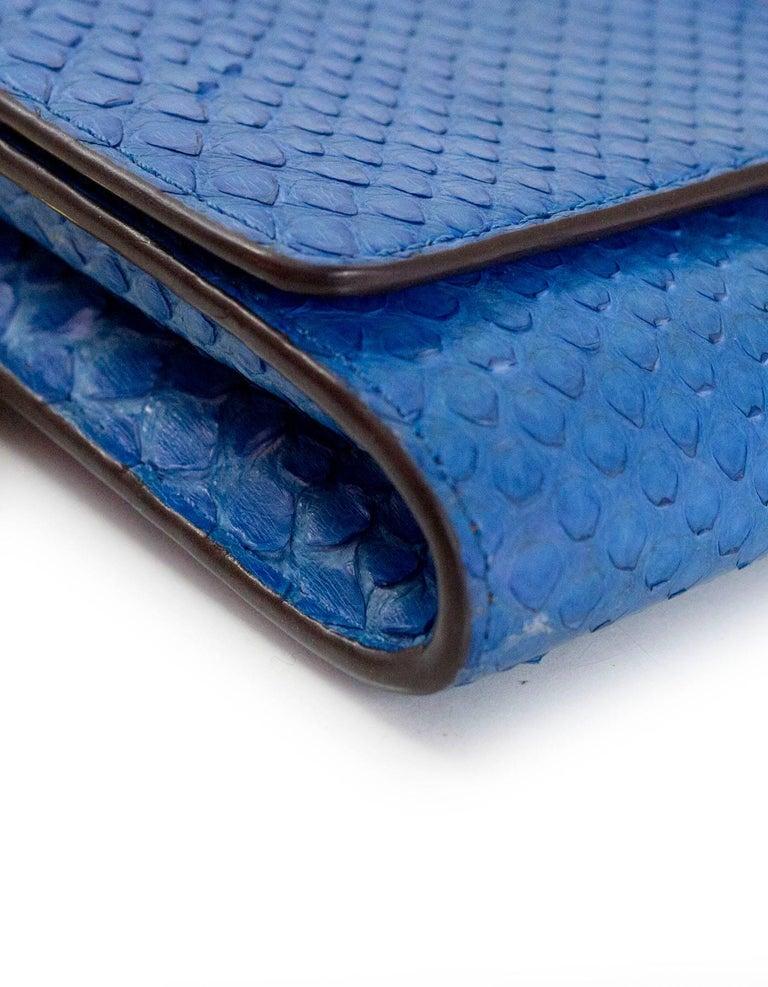 Louis Vuitton Cobalt Blue Python Chain Louise Clutch Shoulder Bag 4