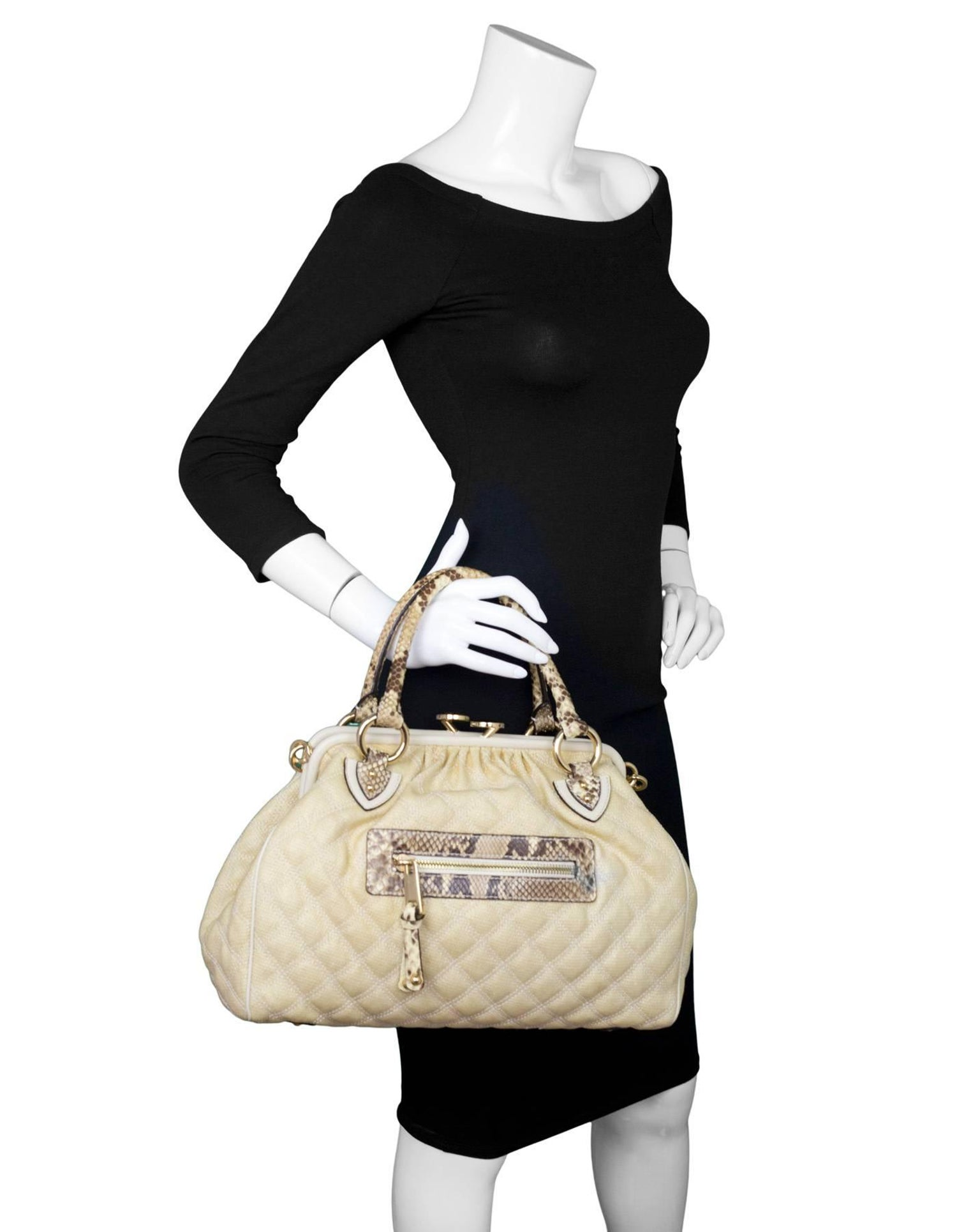 05fd39a46bb0 Marc Jacobs Cream Raffia and Python Stam Bag For Sale at 1stdibs