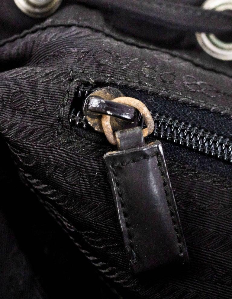 Prada Black Tessuto Nylon Backpack Bag w. Front Pocket For ...