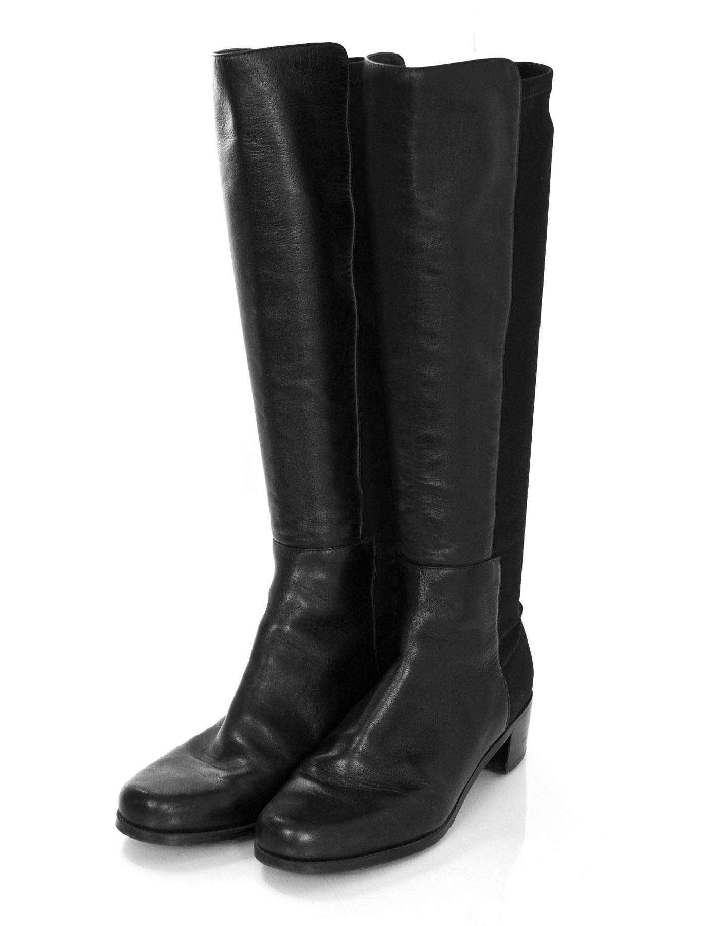 ff215698f4c Stuart Weitzman Black Leather 50 50 Knee-High Boots For Sale at 1stdibs