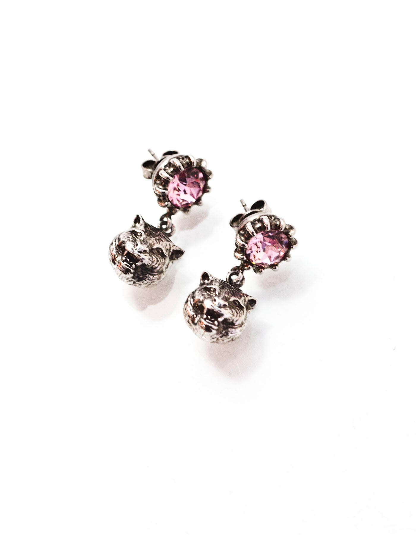 Gucci 2017 Pink Crystal Stud Earrings With Feline Head For At 1stdibs