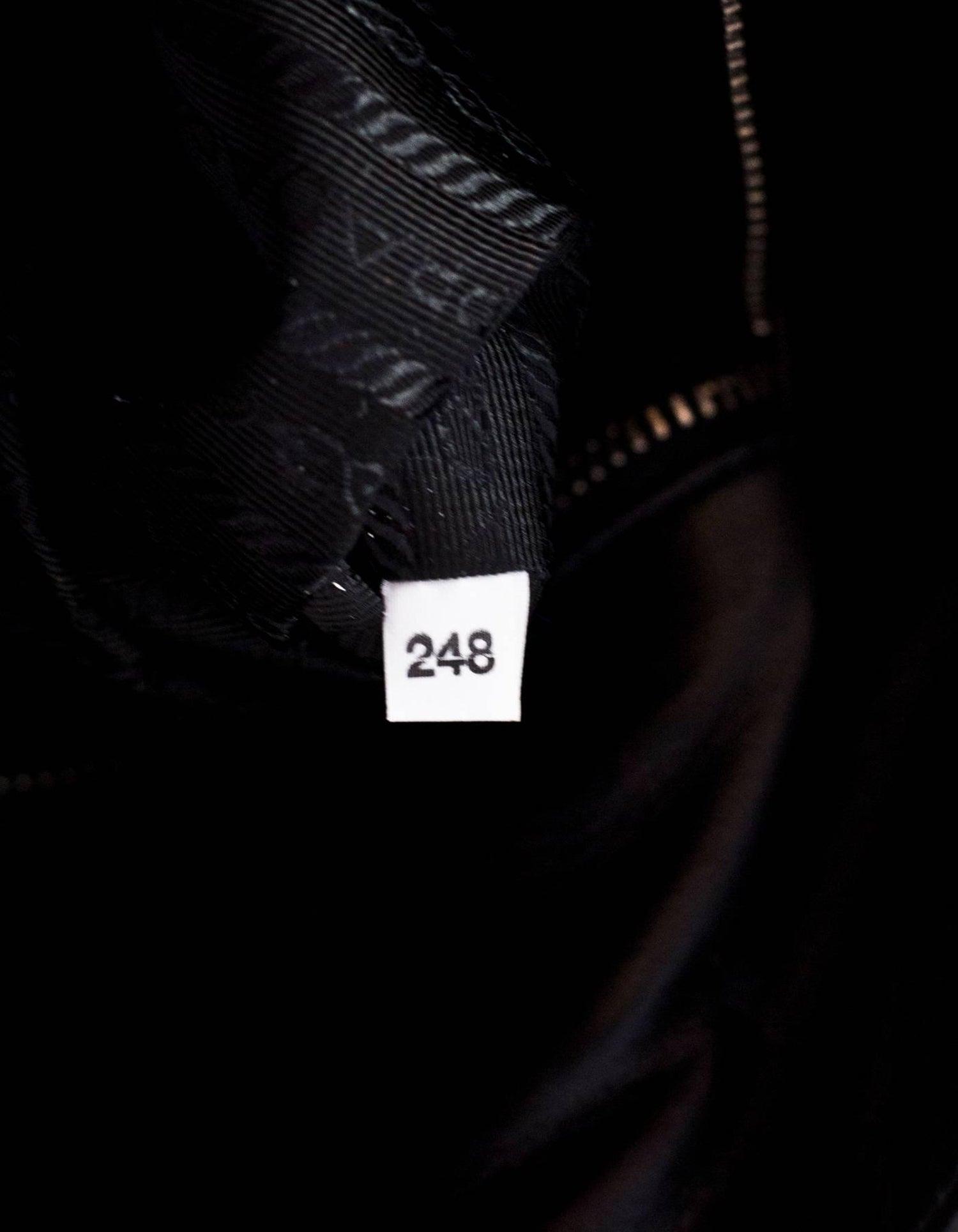 fc7fad856366 Prada Black Tessuto and Leather Grommet Tote Bag at 1stdibs