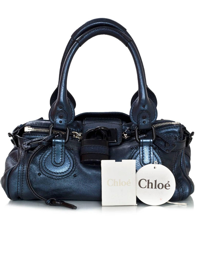 Chloe Blue Metallic Leather Paddington Bag For Sale 5