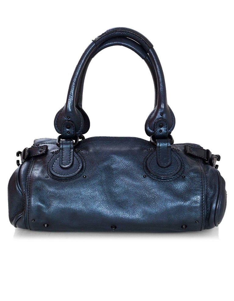 Black Chloe Blue Metallic Leather Paddington Bag For Sale