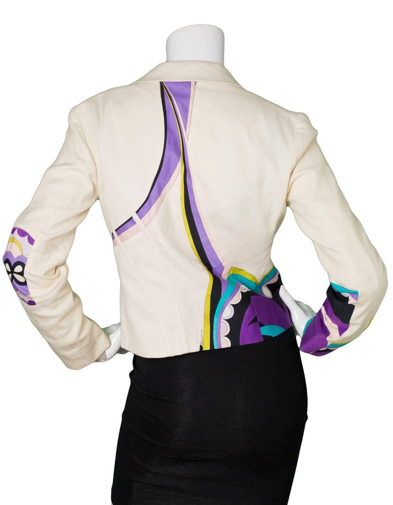 Emilio Pucci Beige & Multi-Colored Printed Jacket sz US4 In Good Condition For Sale In New York, NY