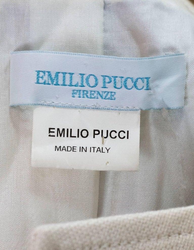 Emilio Pucci Beige & Multi-Colored Printed Jacket sz US4 For Sale 3