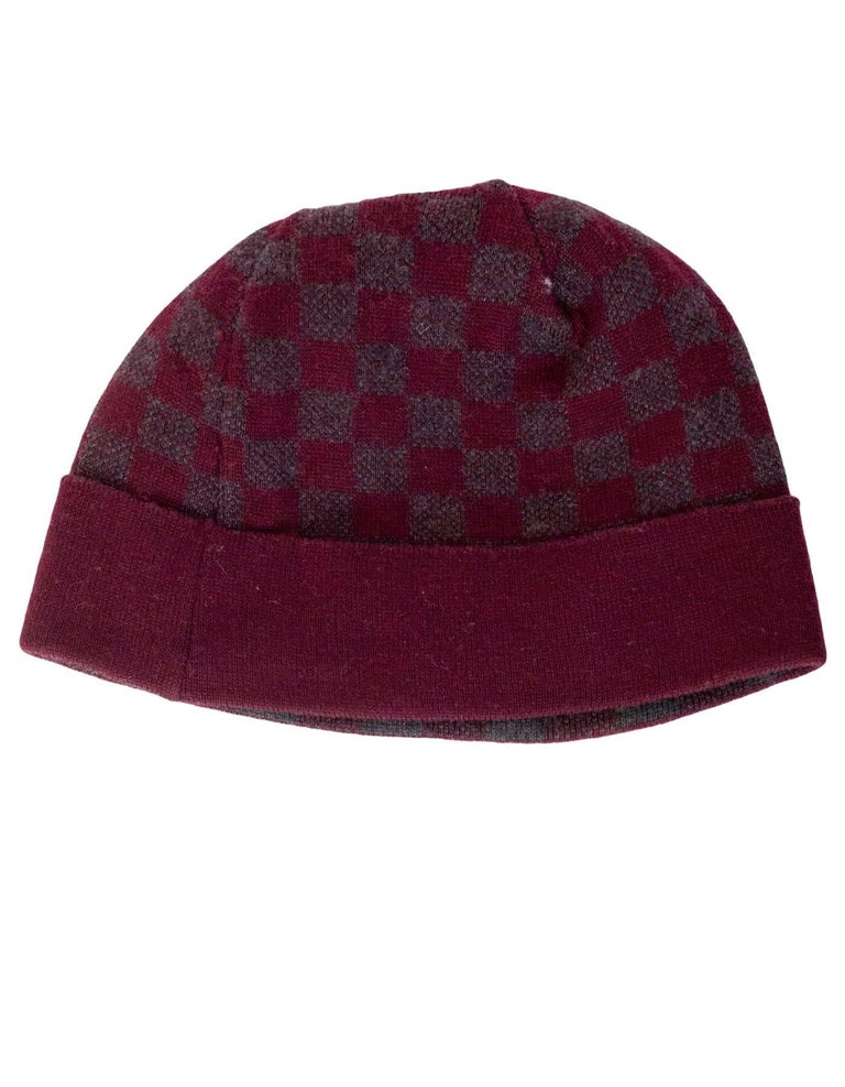Louis Vuitton Burgundy  amp  Grey Wool Bonnet Petit Damier Beanie Features  LV knit on front ba87b80a477