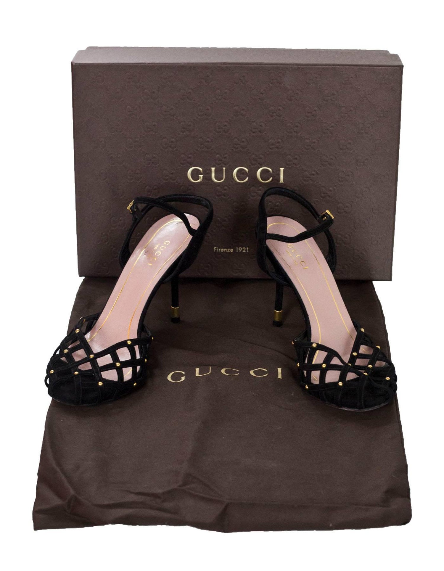 bc0bea37b Gucci Black Suede Cage Sandals sz 37 For Sale at 1stdibs