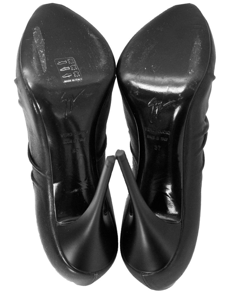 Giuseppe Zanotti Black Leather Ruched Zip Booties Sz 37 For Sale 1