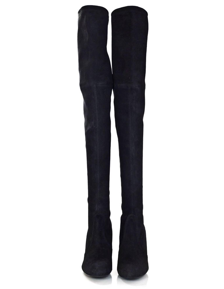 30013facbfd87 Stuart Weitzman Black Suede Highland Thigh-High Boots Sz 7.5 with DB