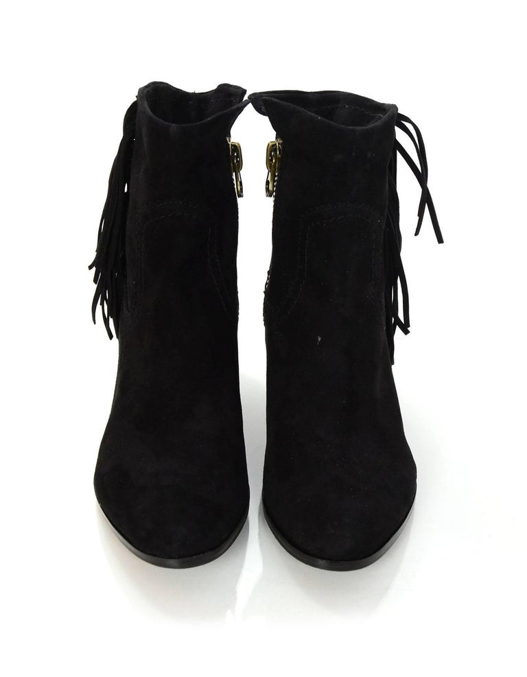 59efa991687907 Sam Edelman Black Suede Louie Fringe Ankle Boots Sz 8M In Excellent  Condition For Sale In