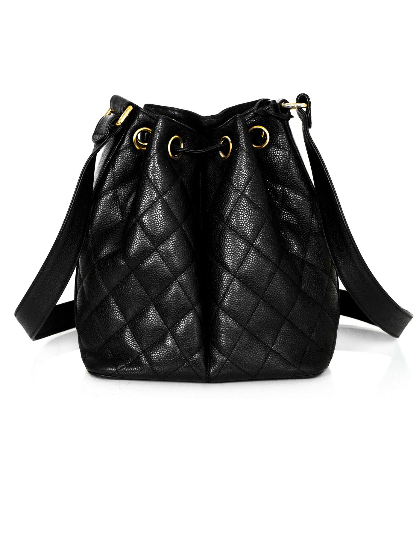 5e8a07dfc40b Chanel '90s Vintage Black Caviar Quilted Bucket Bag For Sale at 1stdibs