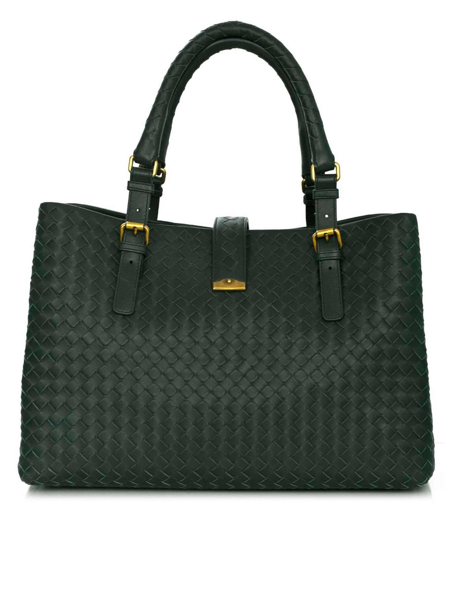a39f37d005 Bottega Veneta Green Intrecciato Woven Leather Roma Tote Bag For Sale at  1stdibs