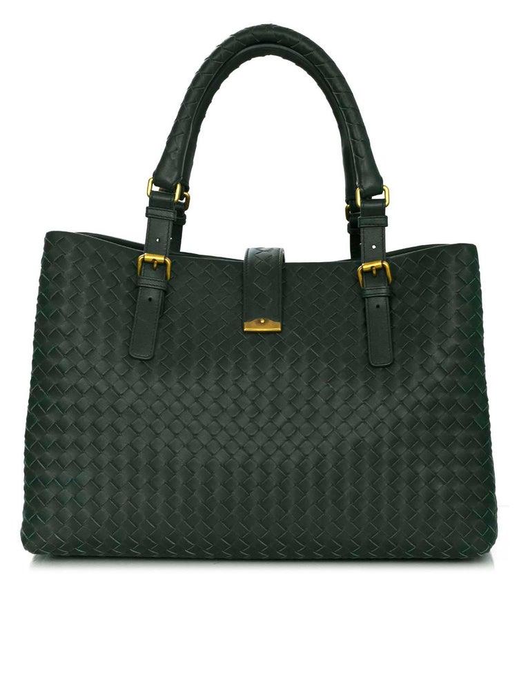 f85af352cd Bottega Veneta Green Intrecciato Woven Leather Roma Tote Bag For ...