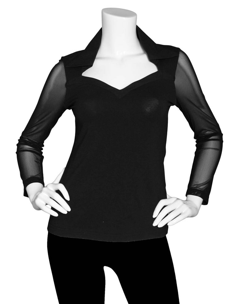 Anne Fontaine Black Sheer Longsleeve Top Sz FR38  Fetures sweetheart neckline and mesh sleeves  Made In: France Color: Black Composition: 93% Pima cotton, 7% Elastane Lining: None Closure/Opening: Pull over  Overall Condition: Excellent pre-owned