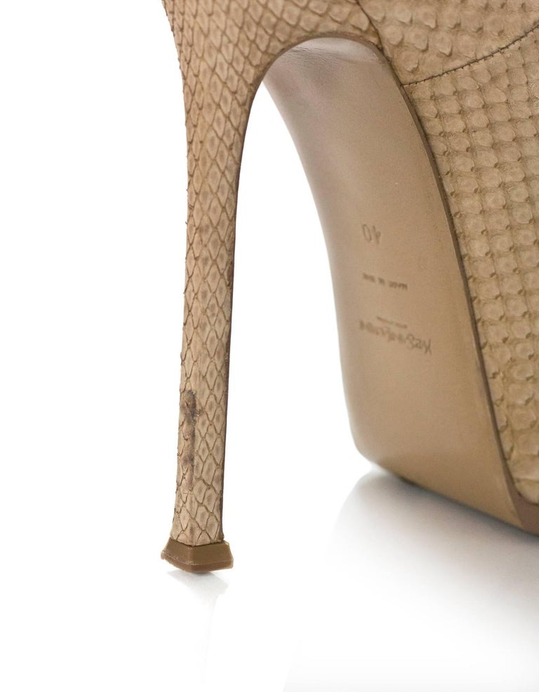 YSL Beige Sueded Python Tribute Two 105mm Pumps Sz 40 For Sale 1