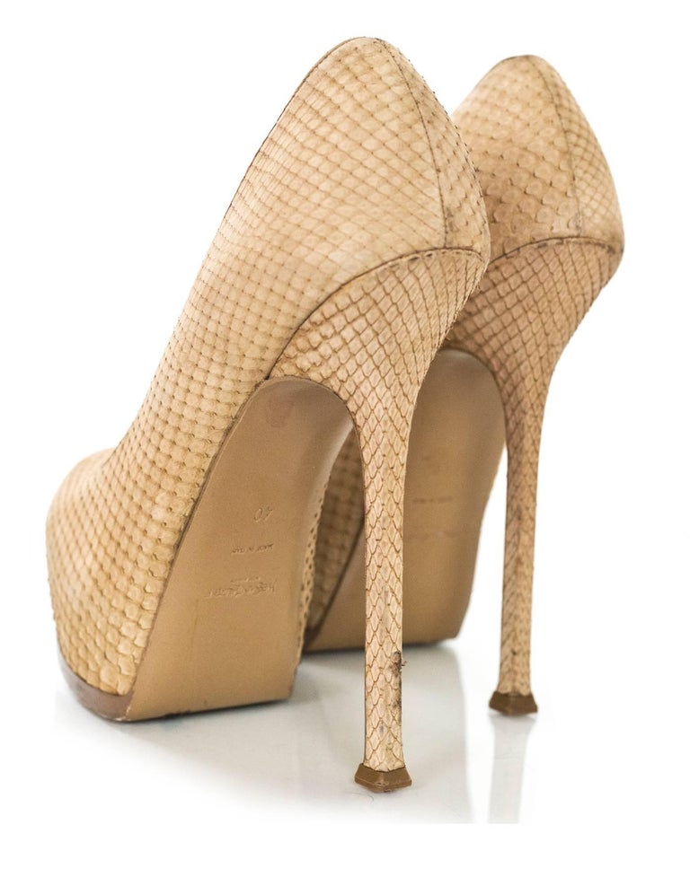 Women's YSL Beige Sueded Python Tribute Two 105mm Pumps Sz 40 For Sale
