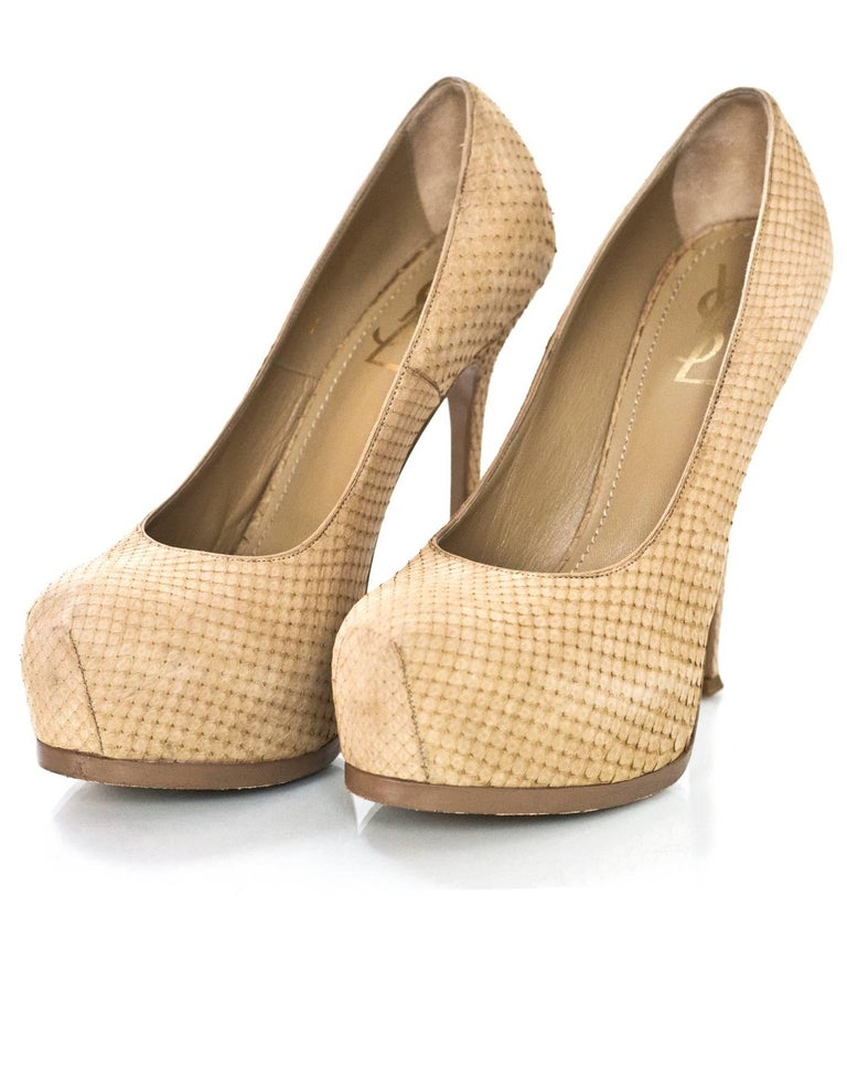 YSL Beige Sueded Python Tribute Two 105mm Pumps Sz 40  Made In: Italy Color: Beige Materials: Sueded python Closure/Opening: Slide on Sole Stamp: Yves Saint Laurent Made in Italy 40 Overall Condition: Very good pre-owned condition with the exception