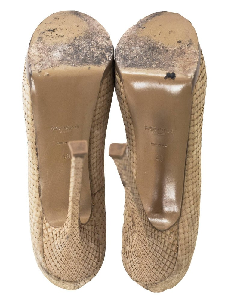 YSL Beige Sueded Python Tribute Two 105mm Pumps Sz 40 For Sale 3
