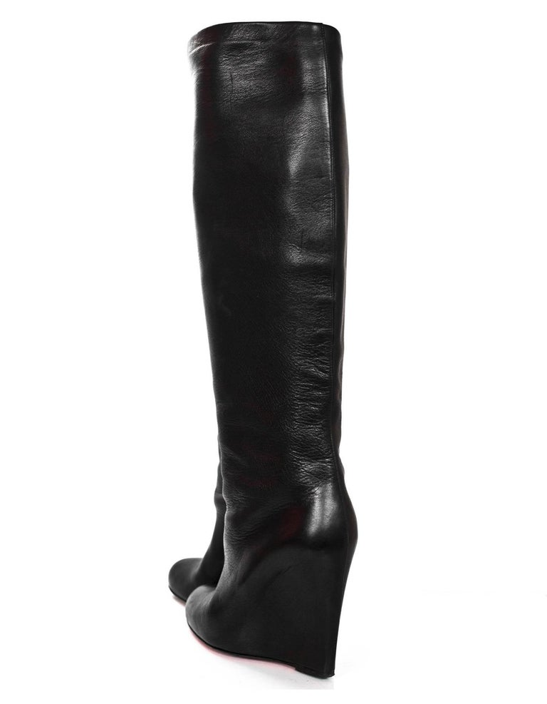 Women's Christian Louboutin Black Leather Zepita 100mm Wedge Boots Sz 40 For Sale