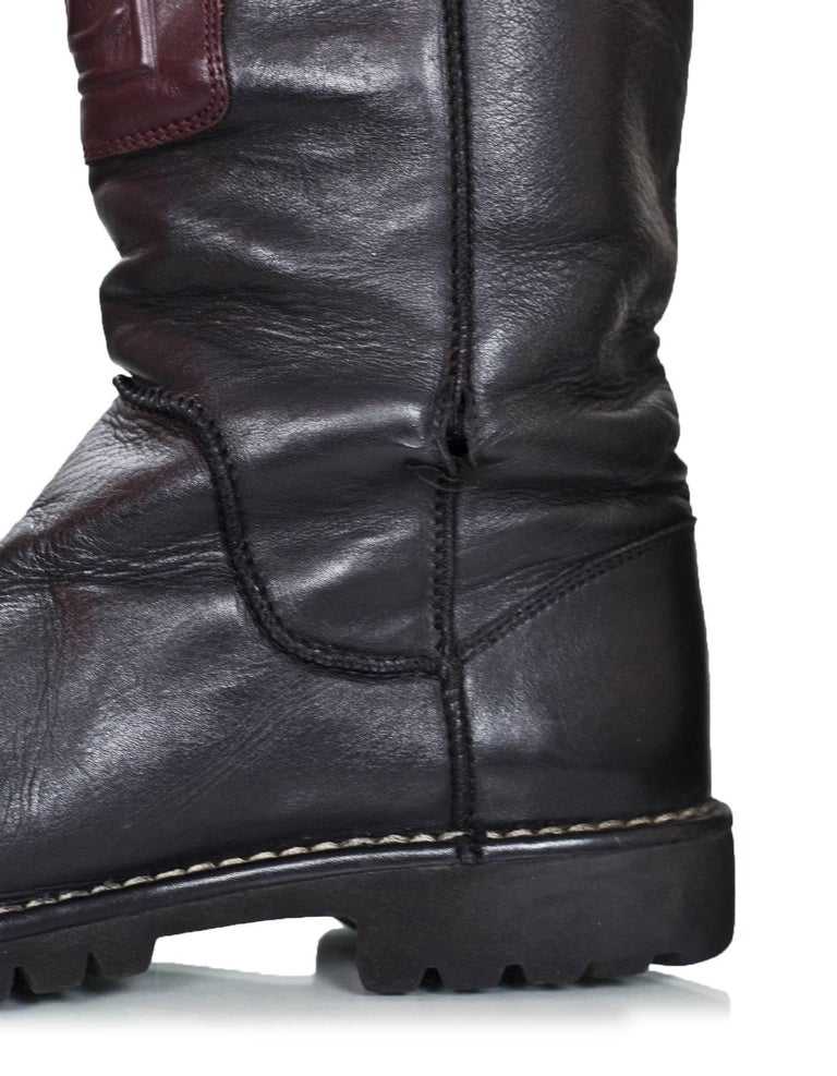 Chanel Black & Burgundy Calfskin Moto Zipper Boots Sz 40 For Sale 1