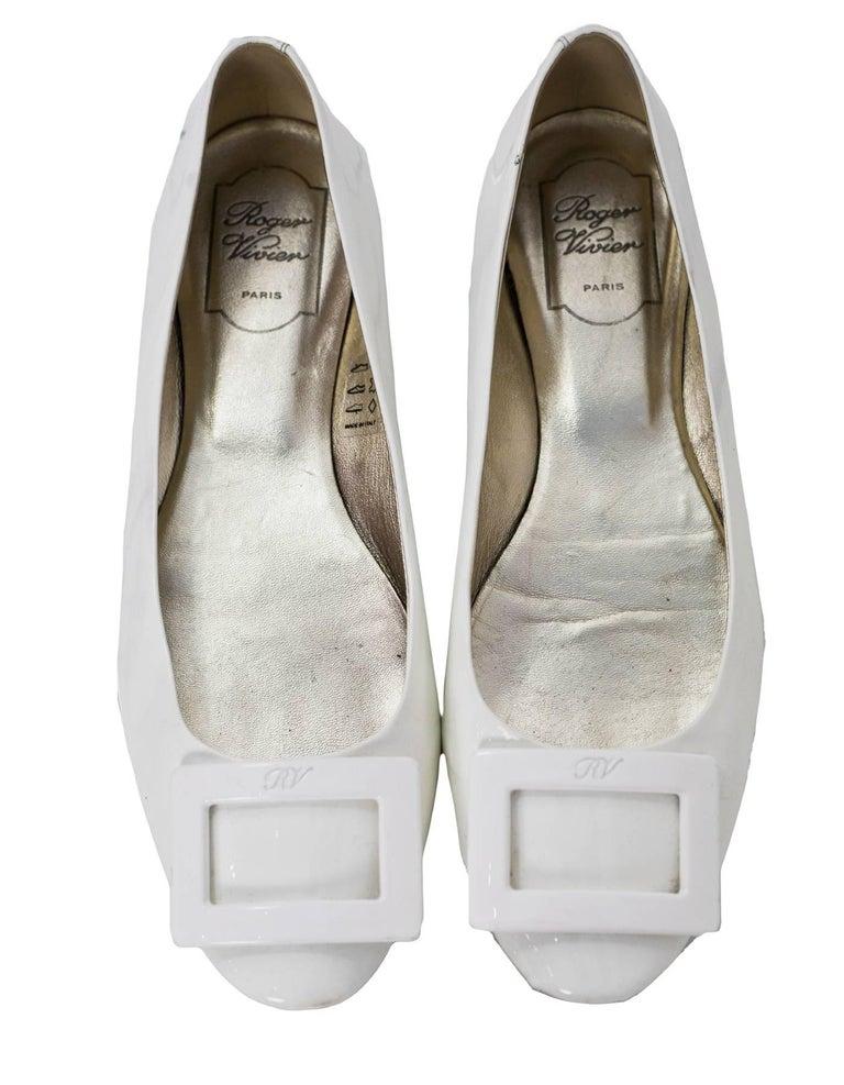 Gray Roger Vivier White Patent Gommette Ballerina Flats Sz 40 For Sale