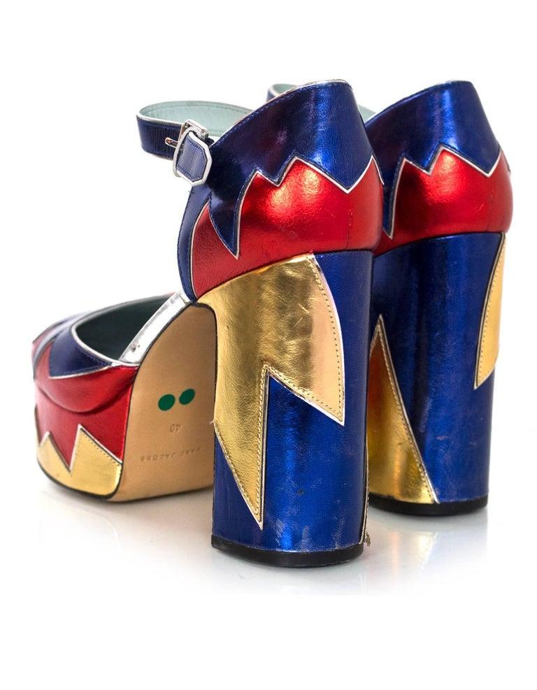 Women's Marc Jacobs Metallic Tri-Color 110mm Victoria Platform Pumps Sz 40 For Sale