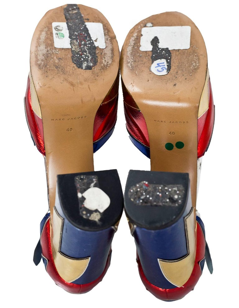 Marc Jacobs Metallic Tri-Color 110mm Victoria Platform Pumps Sz 40 For Sale 2