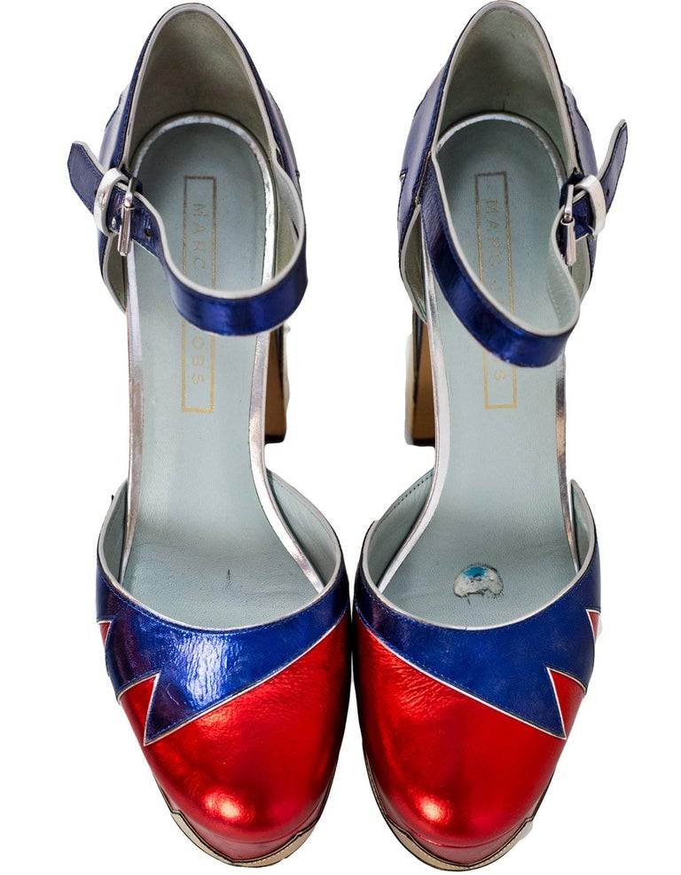 Marc Jacobs Metallic Tri-Color 110mm Victoria Platform Pumps Sz 40 In Excellent Condition For Sale In New York, NY