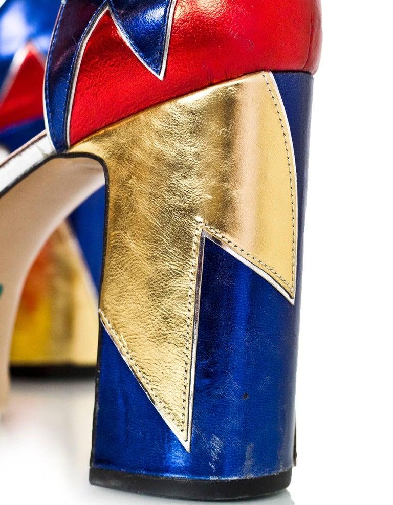 Marc Jacobs Metallic Tri-Color 110mm Victoria Platform Pumps Sz 40 For Sale 1