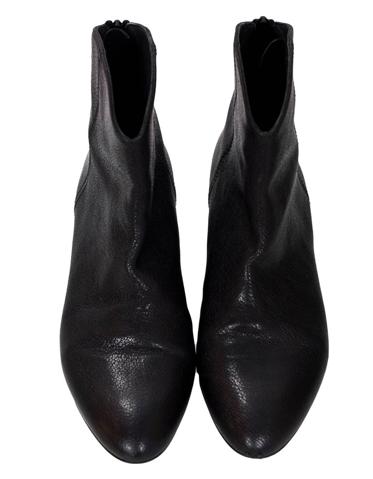 Stuart Weitzman Black Leather Ankle Boots Sz 6 In Excellent Condition For Sale In New York, NY