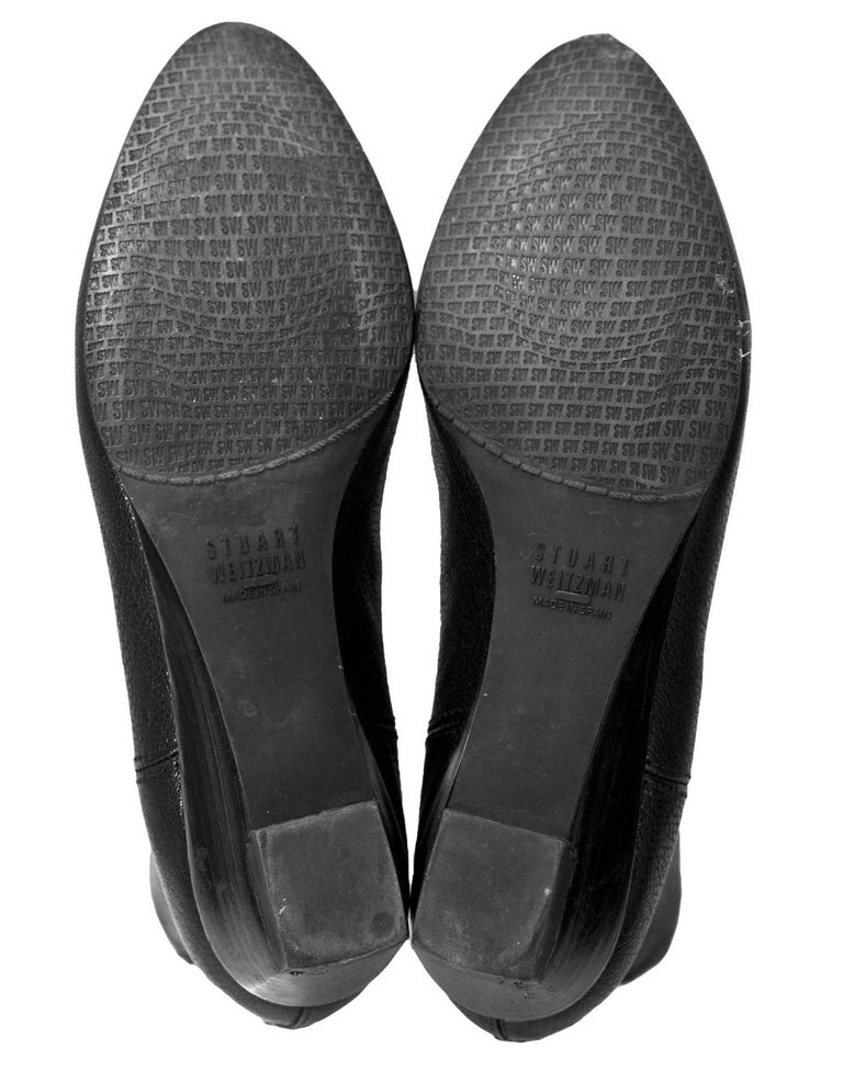 Stuart Weitzman Black Leather Ankle Boots Sz 6 For Sale 2