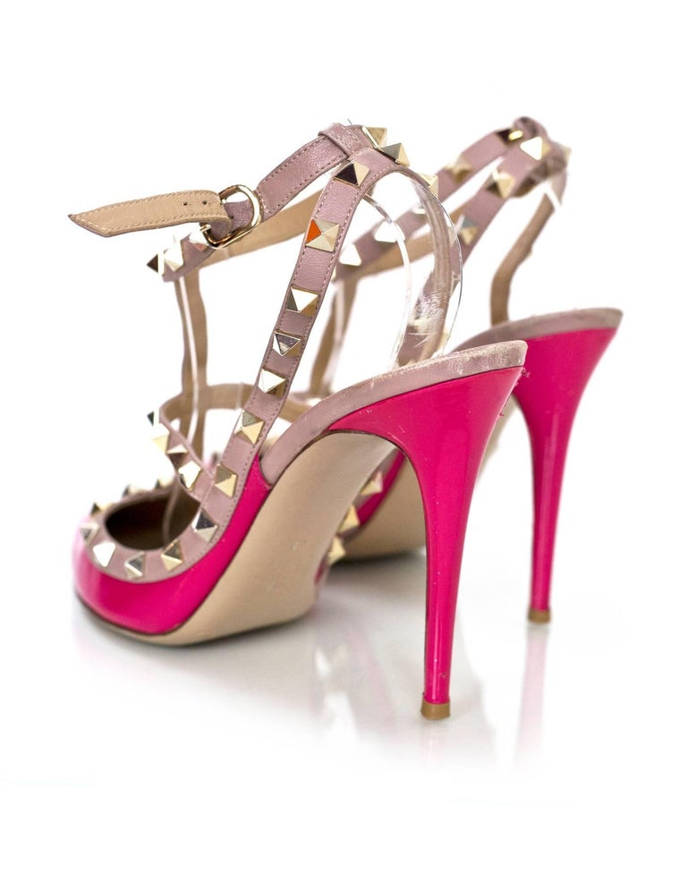 Women's Valentino Pink Patent Rockstud 100mm Pumps Sz 40 For Sale
