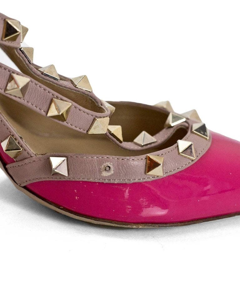 Valentino Pink Patent Rockstud 100mm Pumps Sz 40 For Sale 2