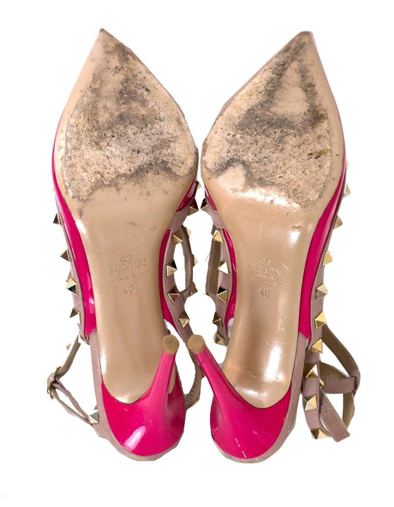 Valentino Pink Patent Rockstud 100mm Pumps Sz 40 For Sale 3