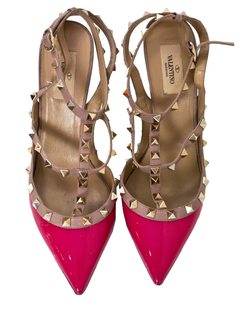 Valentino Pink Patent Rockstud 100mm Pumps Sz 40 In Good Condition For Sale In New York, NY