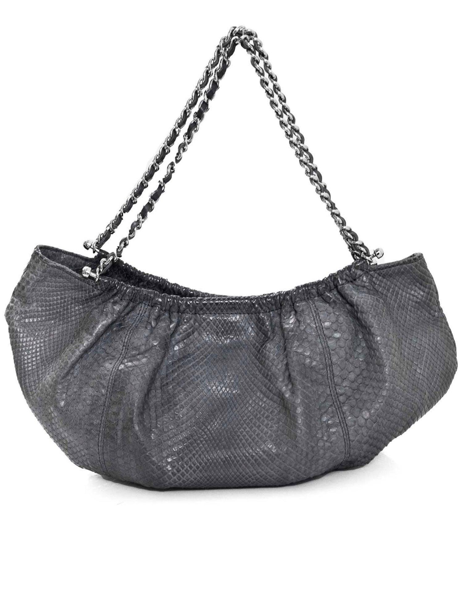 2b82b8aba771 Chanel Grey Python Small Shoulder Bag with CC For Sale at 1stdibs