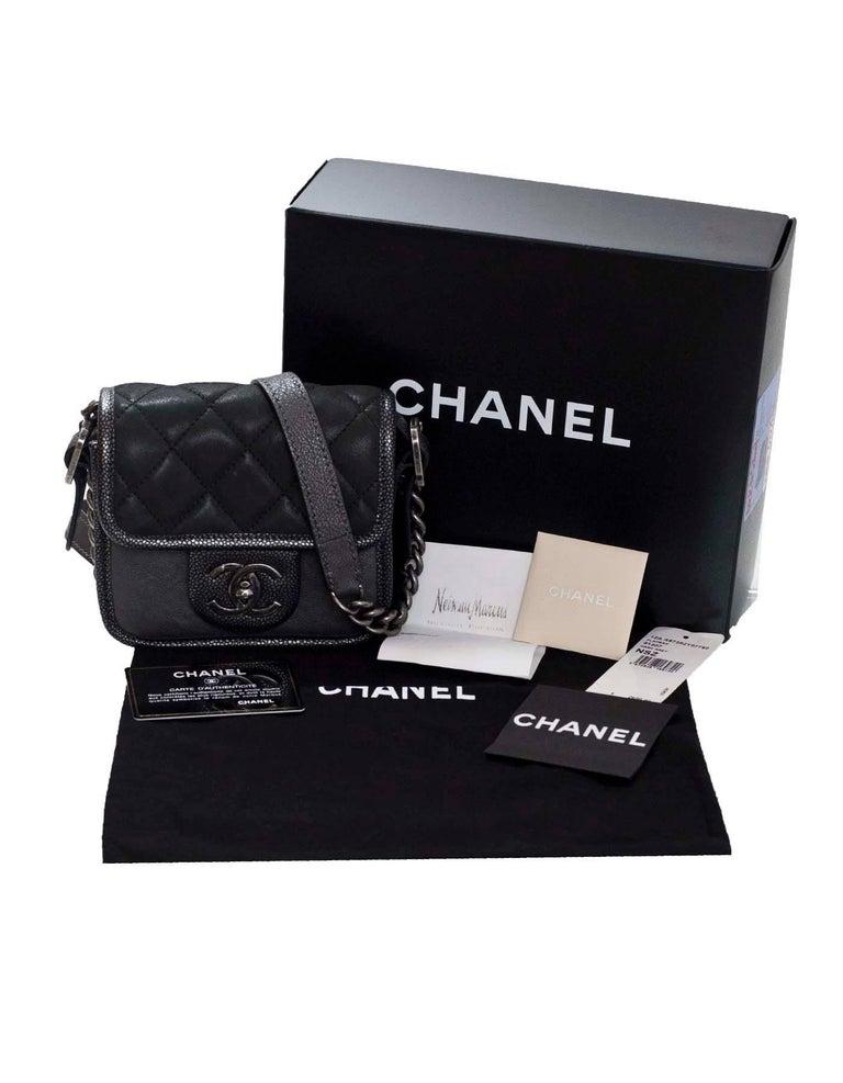 4f7af14485c9 Chanel Grey Iridescent Paris/Bombay Back to School Mini Flap Crossbody Bag  For Sale 4