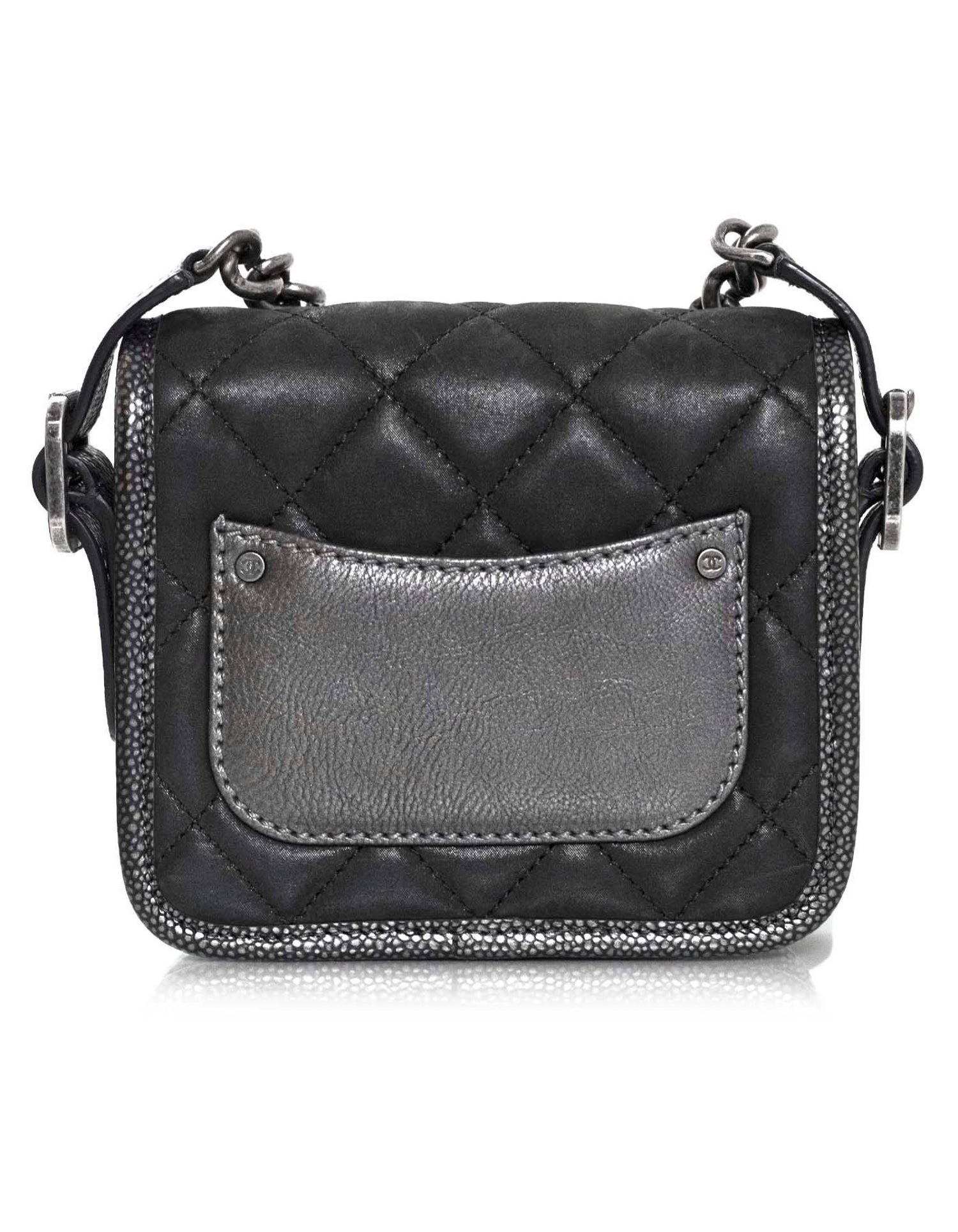 43db8ca63c06 Chanel Grey Iridescent Paris/Bombay Back to School Mini Flap Crossbody Bag  For Sale at 1stdibs