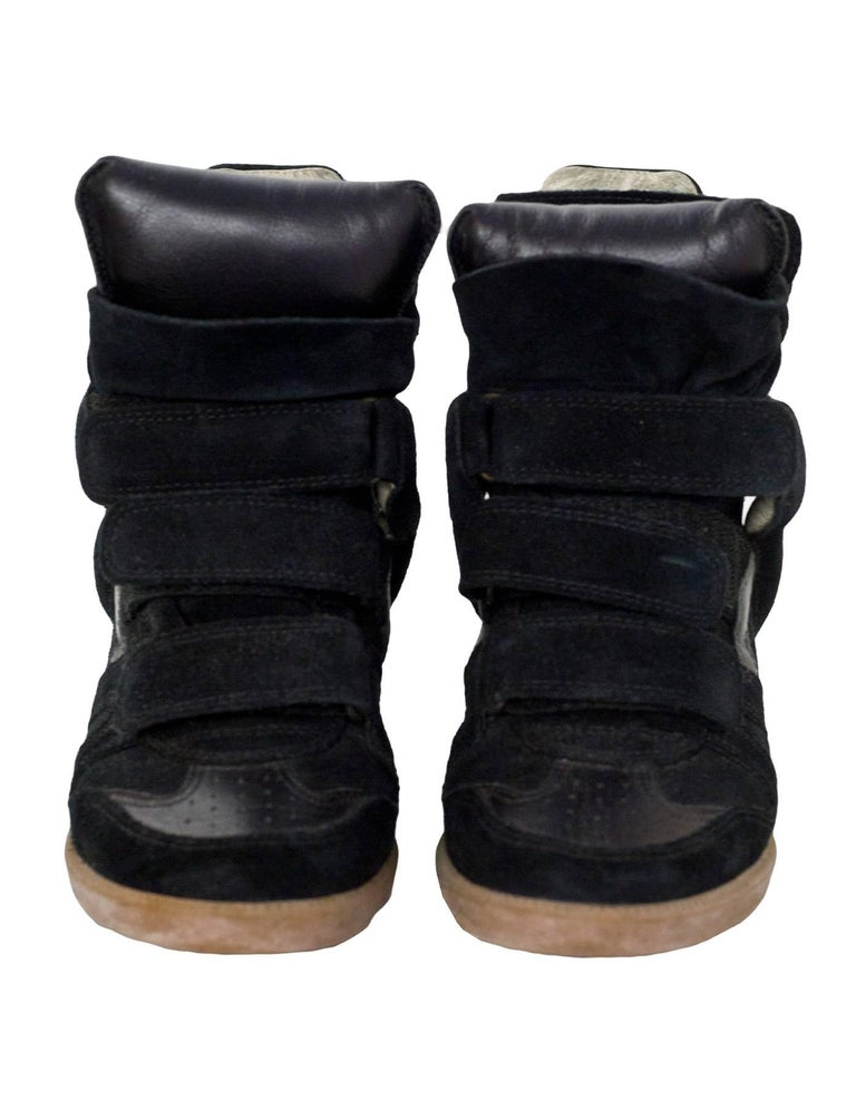 Isabel Marant Black Beckett Suede Wedge Sneakers Sz 36 In Good Condition For Sale In New York, NY