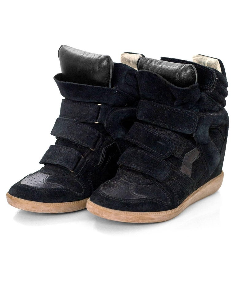 Isabel Marant Black Beckett Suede Wedge Sneakers Sz 36  Made In: Portugal Color: Black Materials: Suede, leather Closure/Opening: Velcro closures Sole Stamp: Isabel Marant 36 Overall Condition: Very good pre-owned condition with the exception of
