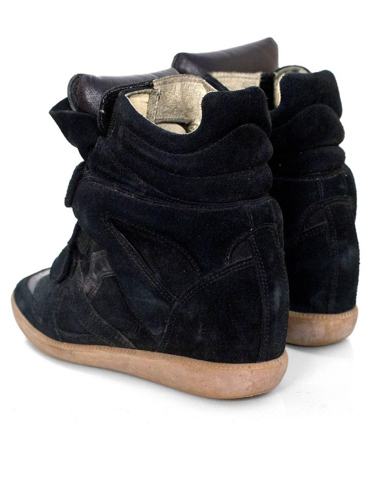 Women's Isabel Marant Black Beckett Suede Wedge Sneakers Sz 36 For Sale