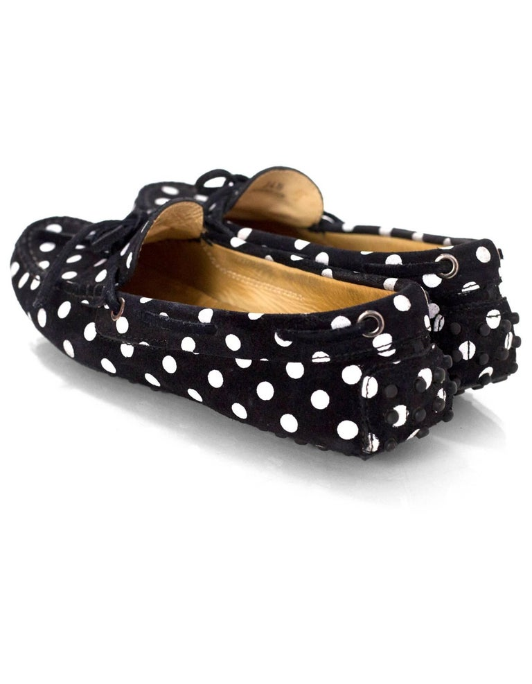 Women's TOD's Black & White Polka Dot Driving Loafers Sz 34.5 For Sale